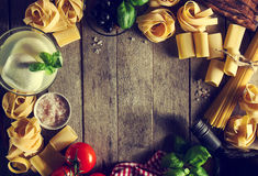 Tasty Colorful Fresh Italian Food Concept with Various Pasta Spa Royalty Free Stock Photos