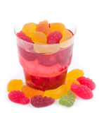 Tasty colorful jelly with candies Royalty Free Stock Photography
