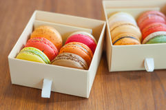 Tasty colorful macaroon. In box paper Stock Image
