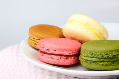 Tasty colorful macaroon on a plate Royalty Free Stock Photos