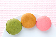 Tasty colorful macaroon on a plate Royalty Free Stock Image