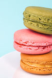Tasty colorful macaroon on a plate Royalty Free Stock Photography