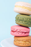 Tasty colorful macaroon on a plate Royalty Free Stock Photo