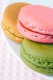 Tasty colorful macaroon on a plate Royalty Free Stock Images