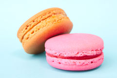 Tasty colorful macaroon on a plate Stock Photos