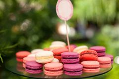 Tasty colorful macaroons on plate Royalty Free Stock Images