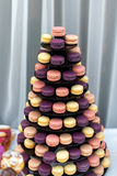 Tasty colorful macaroons on the plate Royalty Free Stock Photography