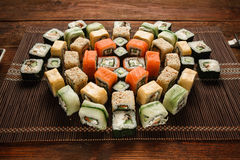 Tasty colorful set of japanese sushi rolls closeup Stock Photo