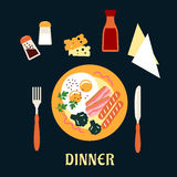 Tasty cooked dinner on a plate Royalty Free Stock Image