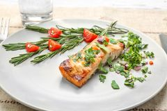 Tasty cooked salmon with herbs on plate. Closeup Royalty Free Stock Image