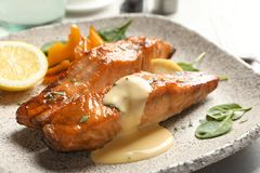 Tasty cooked salmon with sauce on plate. Closeup Royalty Free Stock Photos