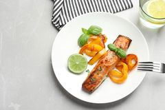 Tasty cooked salmon served for dinner. Top view Stock Photography