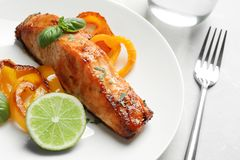 Tasty cooked salmon with vegetables on plate. Closeup Royalty Free Stock Image