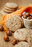 Tasty cookie with hazelnut Royalty Free Stock Images