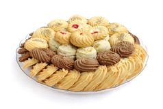 Tasty cookies and biscuits, focus on front Royalty Free Stock Image