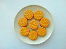 Tasty cookies on a plate. Delicious cookies for breakfast tasty appetite creative Royalty Free Stock Photos