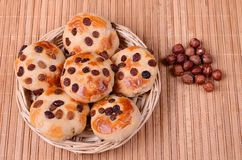 Tasty cookies with raisins and hazelnuts Royalty Free Stock Images