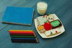 Tasty cookies with shape of school material Stock Photo