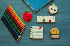 Tasty cookies with shape of school material Stock Images