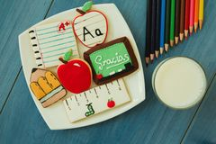 Free Tasty Cookies With Shape Of School Material Stock Photo - 82516240