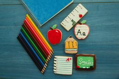 Free Tasty Cookies With Shape Of School Material Royalty Free Stock Images - 82524699