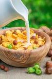 Tasty cornflakes for breakfast Stock Photo