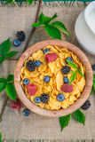 Tasty cornflakes with milk and berry fruits Stock Photos