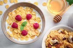 Tasty Cornflakes With Raspberries And Honey Stock Photography