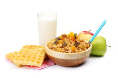 Tasty cornflakes in wooden bowl Stock Photo