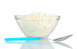 Tasty cottage cheese in bowl Stock Photography