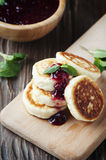 Tasty cottage cheese pancake with raspberry Royalty Free Stock Photo