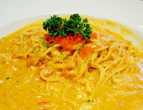 Tasty crab spaghetti with ebiko. Shrimp& x27;s egg Royalty Free Stock Image