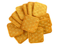 Tasty crackers with salt isolated Royalty Free Stock Photo