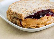 Tasty Creamy Peanut Butter and Jelly Sandwich Royalty Free Stock Images