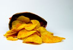 Tasty Crispy Potato Chips in Packet royalty free stock photography