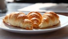 Tasty Croissants On A White Plate Royalty Free Stock Photo