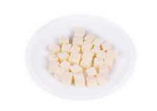 Tasty cubed feta cheese. Royalty Free Stock Photo