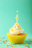 Tasty cupcake with candle on the green background Royalty Free Stock Photo