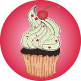 Tasty cupcake with cherry on pink background Stock Image