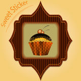 Tasty Cupcake. Cute vintage vector label Royalty Free Stock Image
