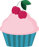 Tasty cupcake with ripe cherries. Muffin with pink cream and berries Royalty Free Stock Image