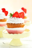 Tasty cupcake with strawberry Stock Photos