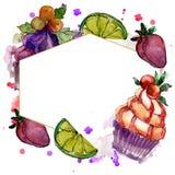 Tasty cupcake in a watercolor style. Aquarelle sweet dessert illustration set. Frame border ornament square. Tasty cupcake in a watercolor style. Watercolour stock illustration