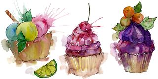 Tasty cupcake in a watercolor style. Aquarelle sweet dessert illustration set. Isolated desserts background element. Tasty cupcake in a watercolor style vector illustration