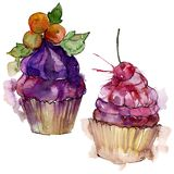 Tasty cupcake in a watercolor style. Aquarelle sweet dessert illustration set. Isolated desserts background element. Tasty cupcake in a watercolor style stock photography