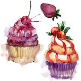 Tasty cupcake in a watercolor style. Aquarelle sweet dessert illustration set. Isolated desserts background element. Tasty cupcake in a watercolor style stock illustration