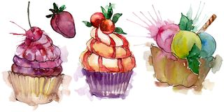 Tasty cupcake in a watercolor style. Aquarelle sweet dessert illustration set. Isolated desserts background element. Tasty cupcake in a watercolor style royalty free illustration