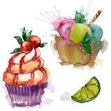 Tasty cupcake in a watercolor style. Aquarelle sweet dessert illustration set. Isolated desserts background element. Tasty cupcake in a watercolor style stock photo