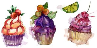 Tasty cupcake in a watercolor style. Aquarelle sweet dessert illustration set. Isolated desserts background element. Tasty cupcake in a watercolor style stock photos