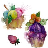 Tasty cupcake in a watercolor style. Aquarelle sweet dessert illustration set. Isolated desserts background element. Tasty cupcake in a watercolor style stock images